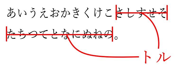 校正記号の長体