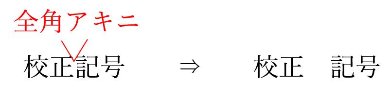 校正記号の半角アキ
