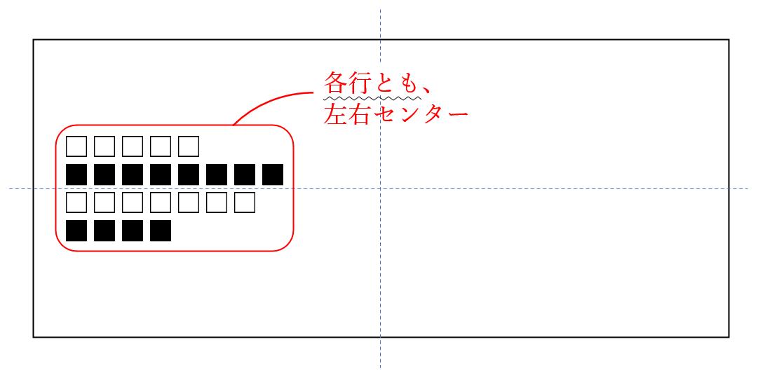 校正記号のセンタリング