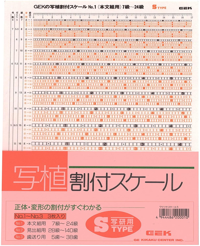 校正道具の級数表
