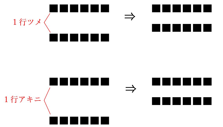 校正記号の詰めるの使い方